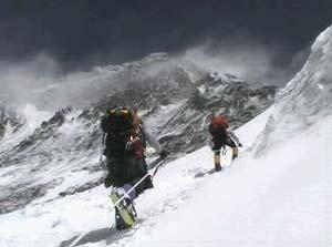 Hacia el campo III en la pared del Lhotse