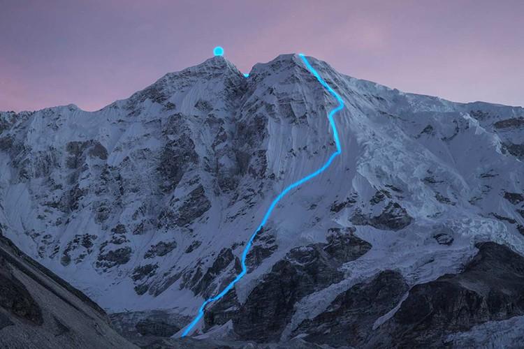 El Nangpai Gosum II, con la ruta seguida. Foto: Jost Kobusch