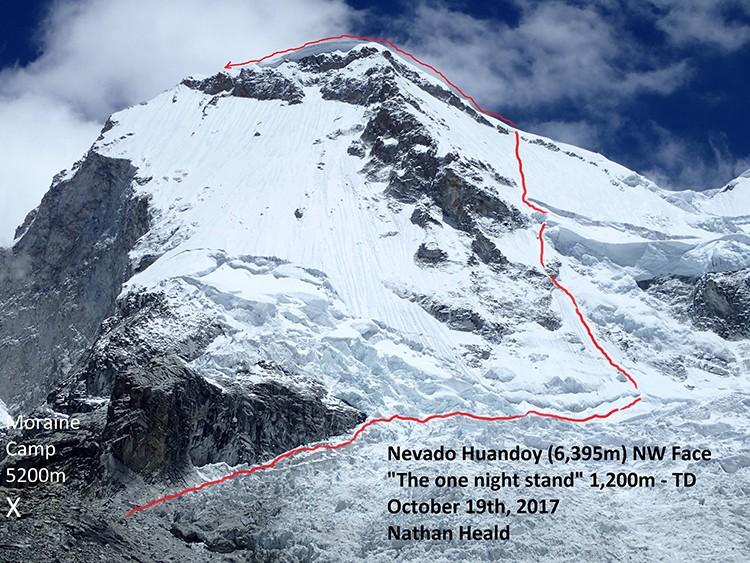 Nueva ruta de Nathan Heald en la Noreste del Huandoy. Foto: Nathan Heald