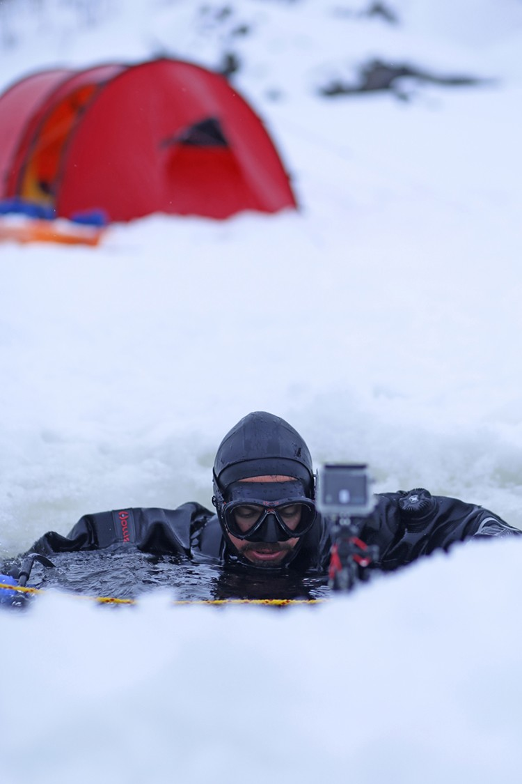 Paco Acedo, en el Lago Inari