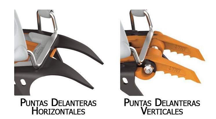 Puntas delanteras horizontales, para marcha, y verticales, para escalada