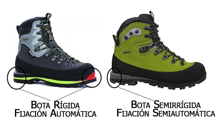 Suelas para fijación automática (bota rígida) y semiautomática (bota semirrígida)