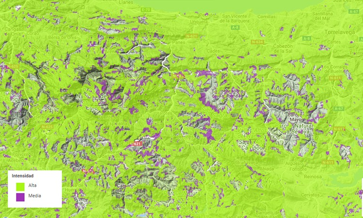 Mapa de cobertura Movistar en Picos de Europa