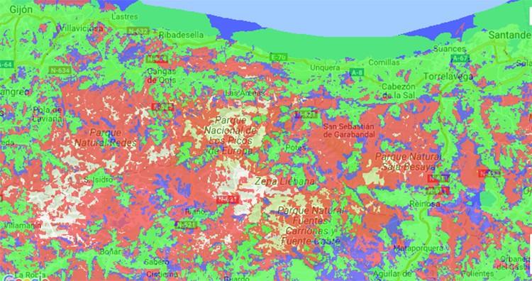 Mapa de cobertura Vodafone en Picos de Europa