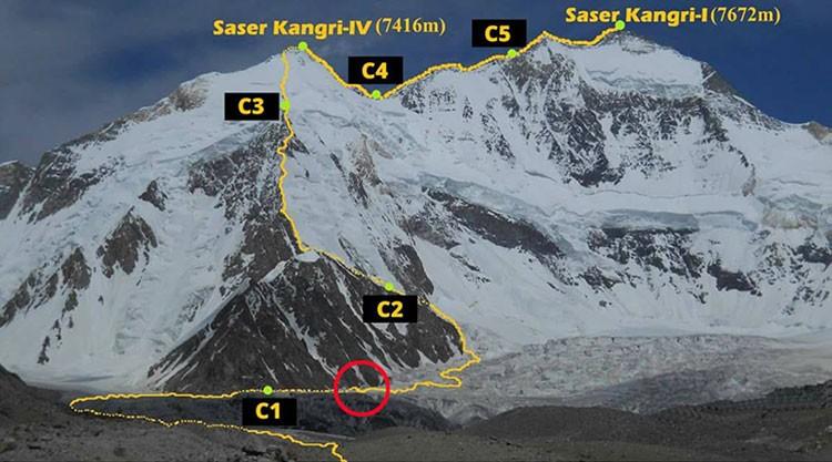 Lugar de la posible desaparición de Pemba Sherpa