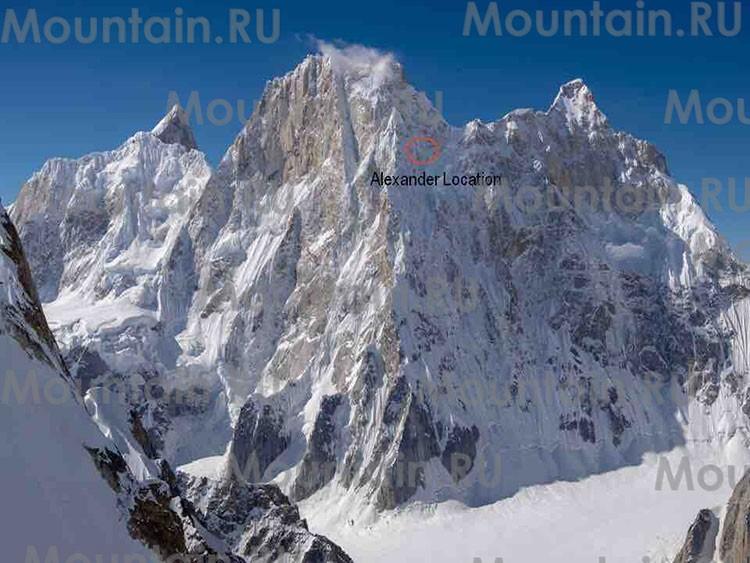 Situación de Alexander Gukov en el Latok I. Foto: mountain.ru