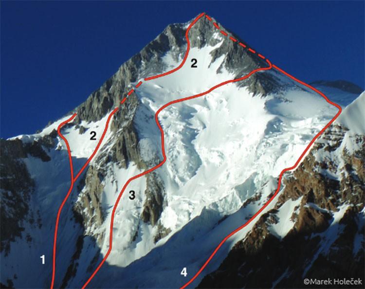 Rutas en la cara oeste del Gasherbrum I. Foto: Marek Holecek