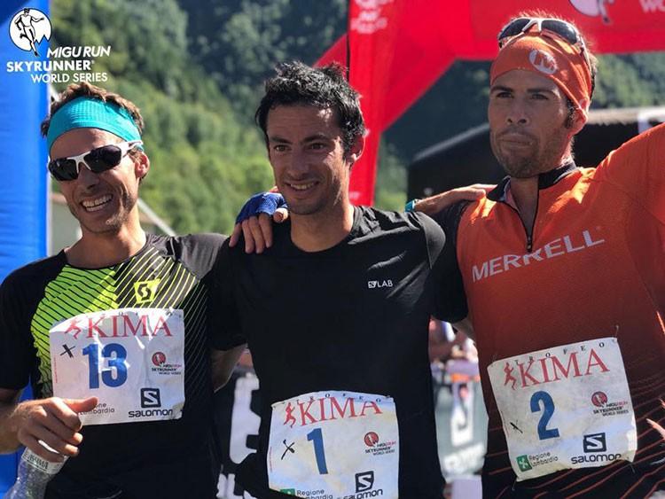 Podio del Trofeo Kima. Kilian Jornet, Alexis Sévenne, Pere Aurell. Foto: Skyrunner World Series