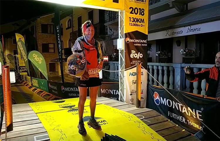 Silvia Triguero entra en meta tras vencer en el Tor des Géants. Foto: Tor des Géants