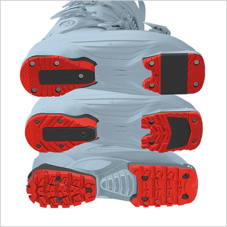Arriba, suela Esquí alpino ISO 5355, en medio, suela con sistema WalkToRide, abajo, suela travesía