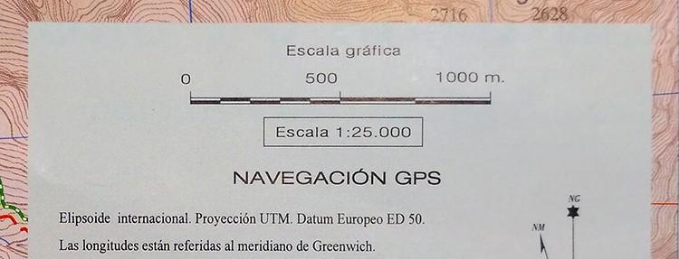 Mapa Escala 1:25.000, indicado en cuadro de información del mapa