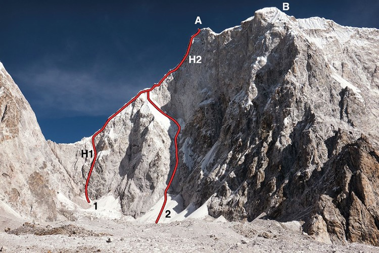 Lunag Ri. A, cima principal. 2, ruta de Lama. H2, punto más alto 2016