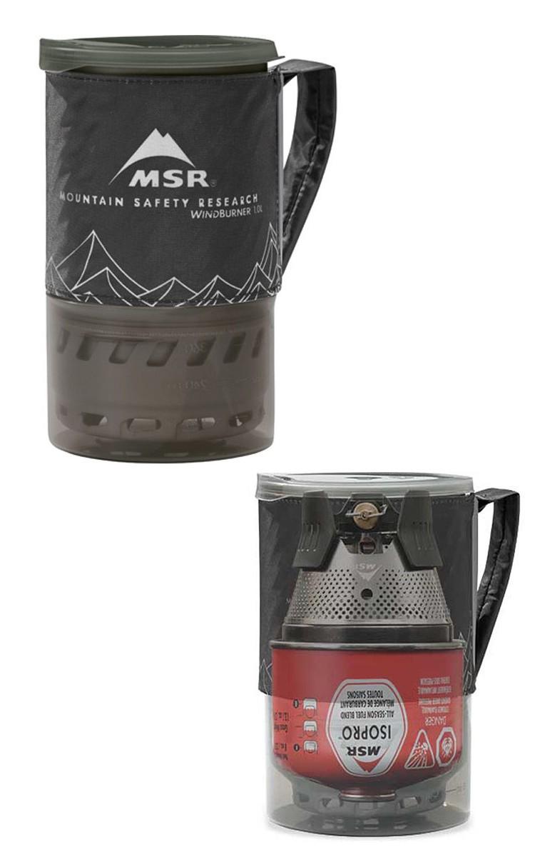 MSR Windburner compactado para transporte. En foto inferior, simulación del interior.