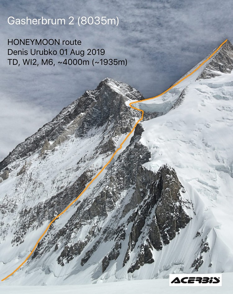 Luna de Miel, nueva vía de Denis Urubko en Gasherbrum II. Foto: Denis Urubko Blog