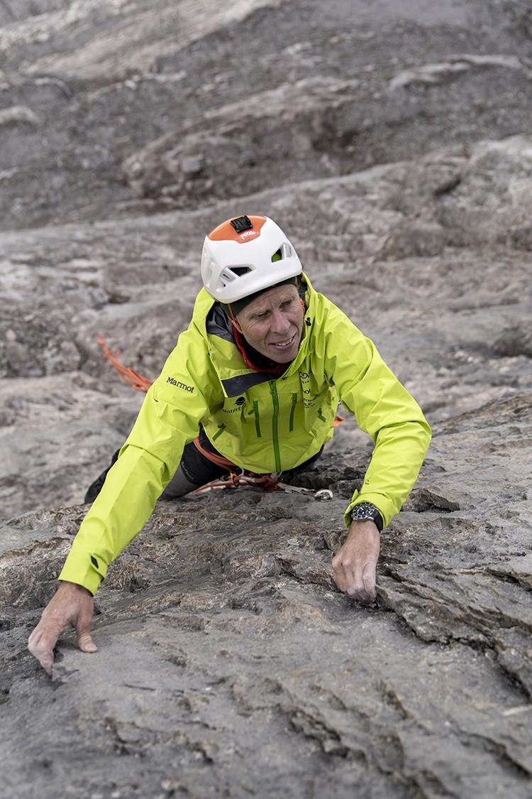 Robert Jasper durante la apertura de Meltdown, Eiger. Foto: Nicolas Hojac