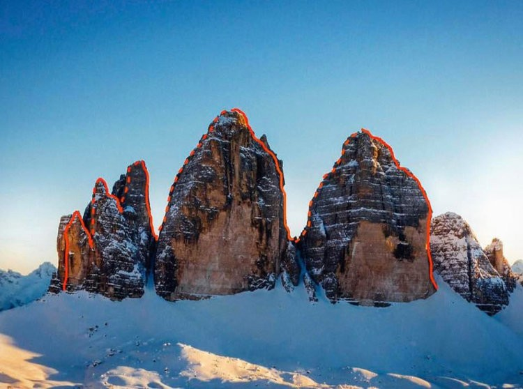 Simon Gietl, 1ª travesía invernal en solitario a las 3 cimas de Lavaredo. Foto: FB Simon Gielt