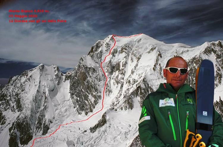 Edmond Joyeusaz, 1º descenso con esquís Poire, Mont Blanc. Foto: FB Joyeusaz