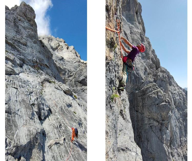 La gran pared de Peña Santa de Castilla. Kiko Cerdá escalando. Foto: Hermanos Pou