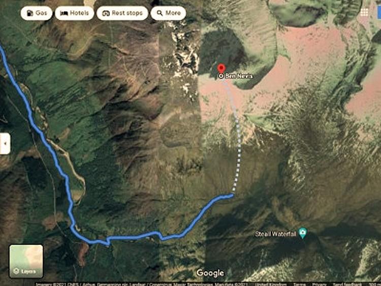 Ruta de ascenso indicada por Google Maps al Ben Nevis. Foto: Mountaineering Scotland
