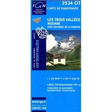 Ed. Ign France Map of Les 3 Valleés Modane