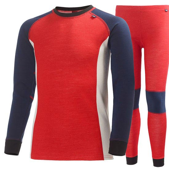 Helly Hansen JR HH Warm Set 2 - Alert Red/Evening Blue