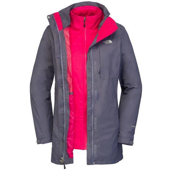The North Face Solaris Triclimate Parka W - Greystone Blue/Cerise Pink