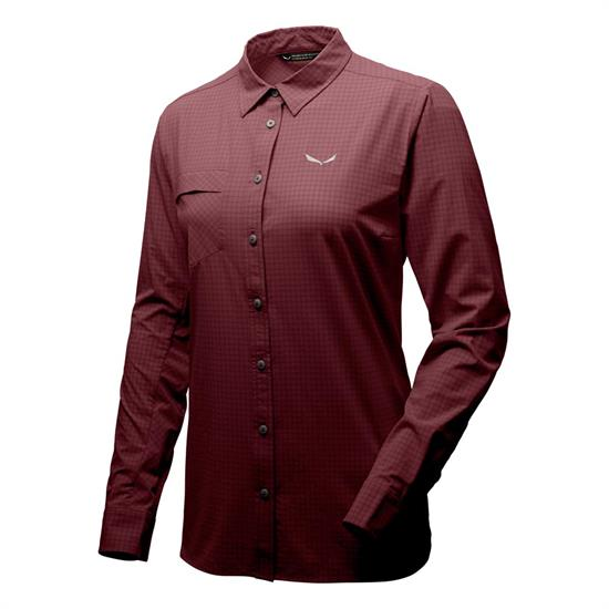 Salewa Puez Minicheck Dry L/S SRT W - Rose Brown