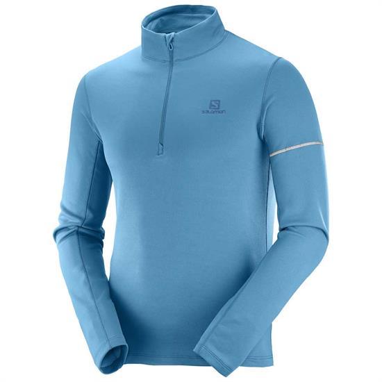 Salomon Agile Half Zip Mid - Fjord Blue/Lyons Blue