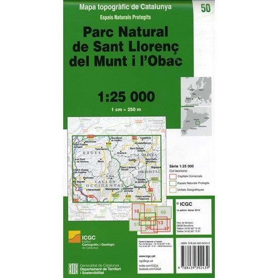 Icc (catalunya) Mapa Parque Natural Sant Llorenç de Munt 1:25000 - Photo of detail