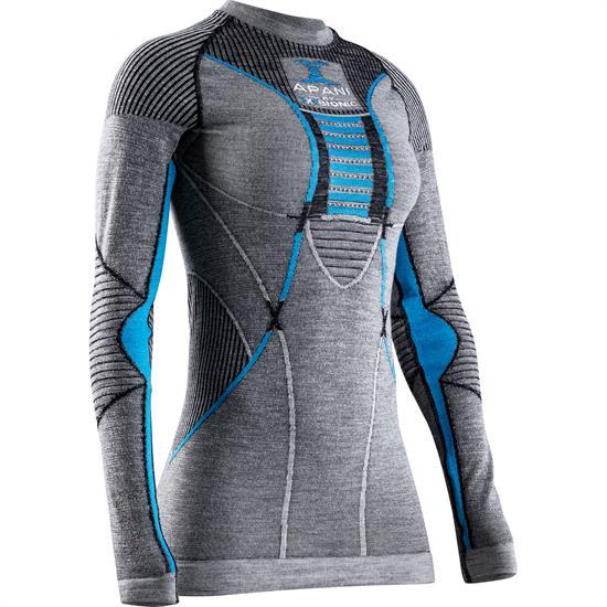 X-bionic T-Shirt Ls Apani 4.0 Merino W Blk/Gry/Tr - Black/Grey