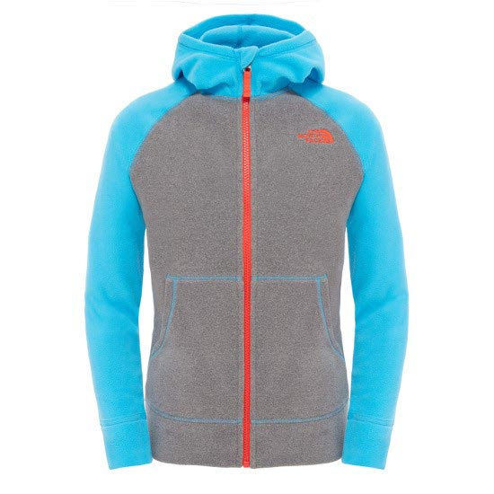 The North Face Glacier Full Zip Hoodie Boy - Heather Grey/Meridian Blue
