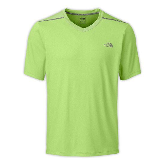 The North Face Reactor S/S V-Neck - Macaw Green Heather/Macaw Green