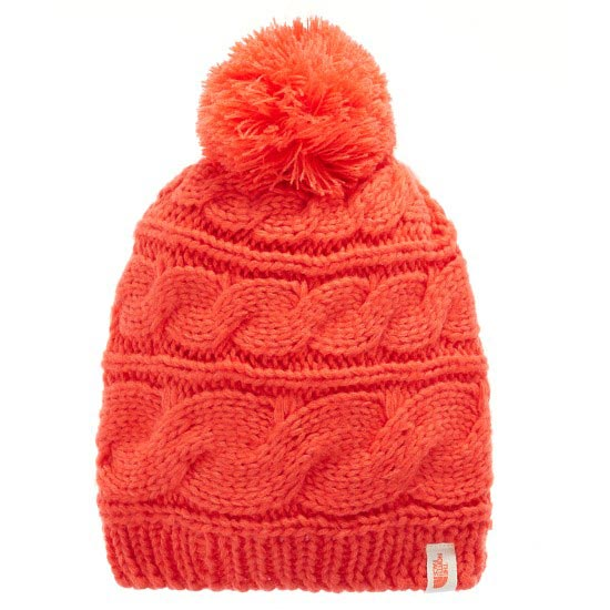 The North Face Triple Cable Pom Beanie - Melon Red