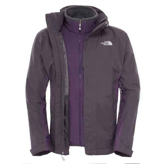 The North Face Evolution II Triclimate Jacket - Asphalt Grey/Dark Eggplant Purple