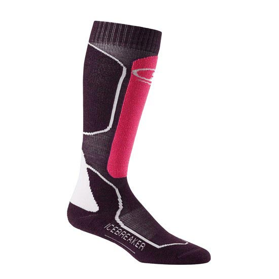 Icebreaker Ski + Mid Over the Calf W - Bordeaux Heather/Shocking/White