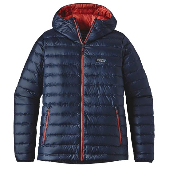 Patagonia Down Sweater Hoody - Navy Blue/Ramble Red