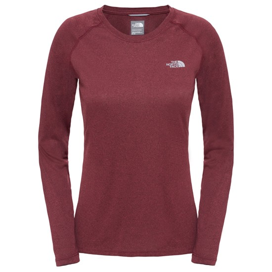 The North Face Reaxion Amp L/S Crew W - Deep Garnet Red Heather