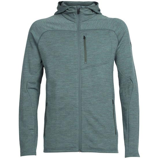 Icebreaker MT Elliot LS Hood - Coriander Heather