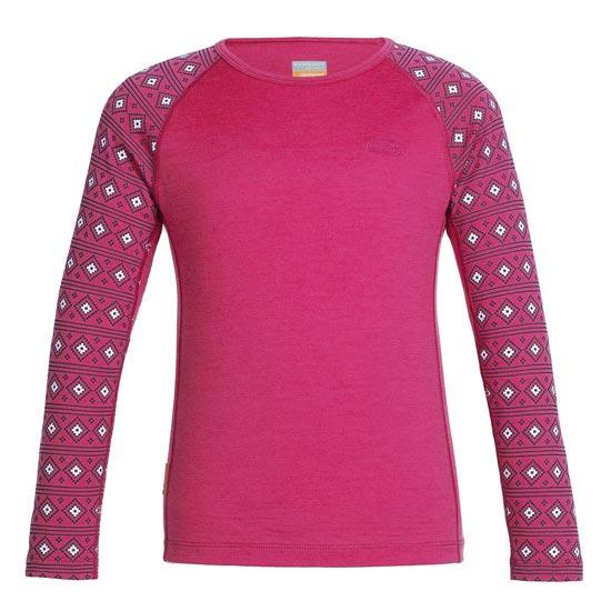 Icebreaker Oasis Ls Crewe Kids - Pop Pink