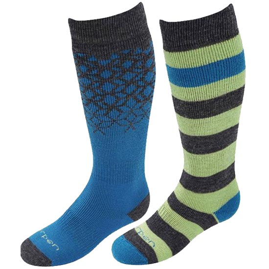 Lorpen Merino Ski Kids 2 Pack - Blue/Acid Yellow