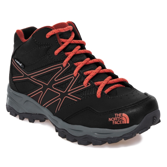 The North Face Hedgehog Hiker Mid WP Jr - TNF Black/Mandarin Red