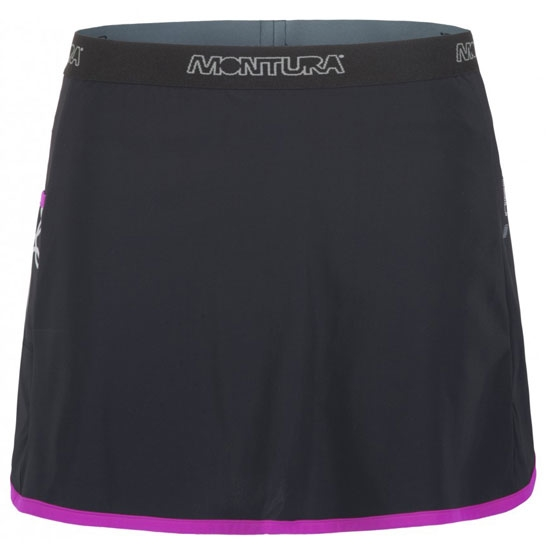 Montura Run Skirt + Shorts W - Negro/Fuxia