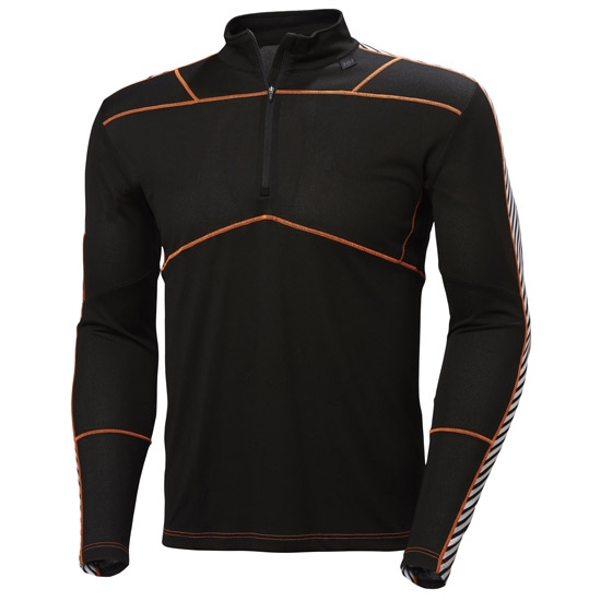 Helly Hansen HH Lifa Active 1/2 Zip - Black/Neon Orange