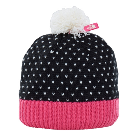 The North Face Pom Pom Beanie Jr - Black/Petticoat Pink/Vintage White