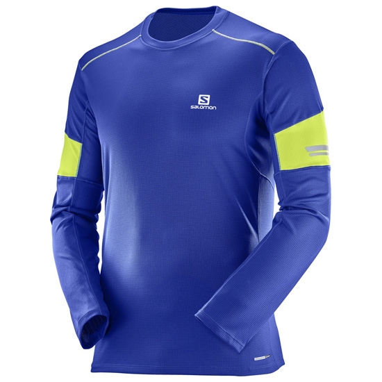 Salomon Agile LS Tee - Surf The Web/Acid Lime