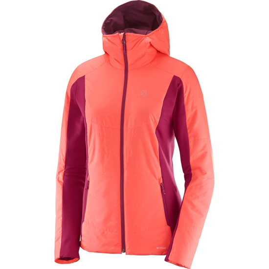 Salomon Drifter Mid Hoodie W - Fluo Coral/Beet Red