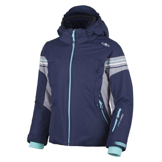 Campagnolo Snaps Hood Jacket Girl - Argento Melange/Aquamarine