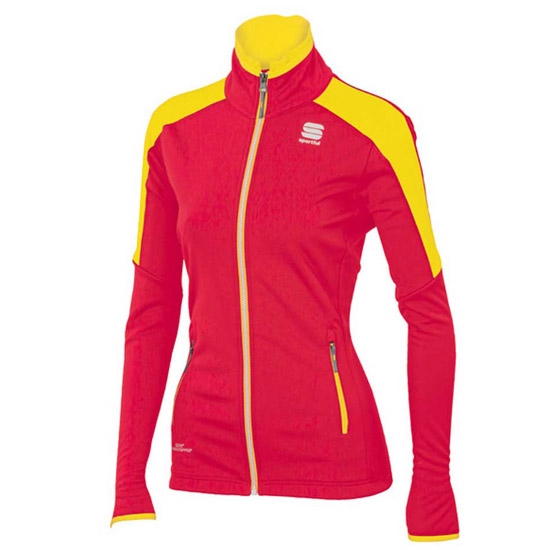 Sportful Squadra Jacket W - Cherry/Yellow Fluo