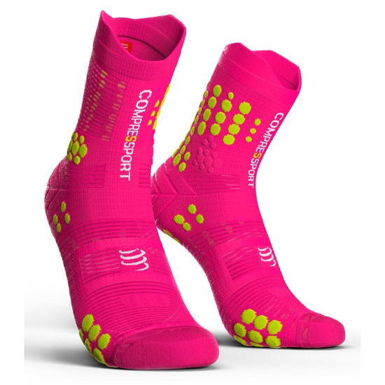 Compressport Racing Socks Trail V3.0 - Fluor Pink