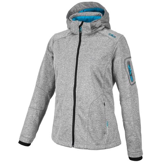 Campagnolo Softshell Zip Hood Jacket W - Light Grey Melange/Blue